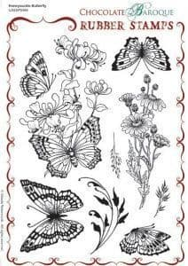 Chocolate Baroque Honeysuckle Butterfly Rubber Stamp